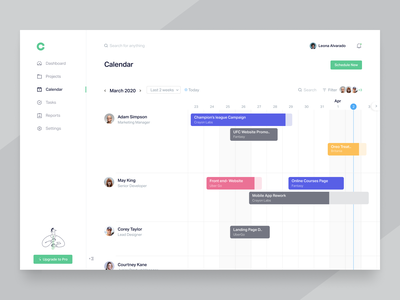 Scheduling page time project manager project management teams schedule web application website web app design web app light ui calendar progress dashboard product minimal clean app design ux ui