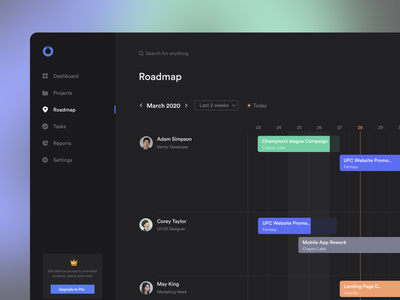 Roadmap 2020 dark mode team project managment planning project calendar schedule roadmap trending dashboard cards product minimal clean app design ux ui