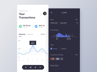 Transactions mobile income expense range calendar banking finance transaction filter dark ui light ui trending dashboard cards product minimal clean app design ux ui