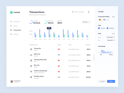 Transactions graph stats typogaphy filter list filters light ui finance transactions uiux trending dashboard cards product minimal clean app design ux ui