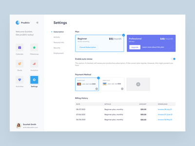 Productivity app website ui product design subscription plans payment history essentialist website applications dashboards clean minimal plans payments settings ui subscription page web ui web app web design app design ux ui