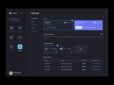 Settings page dark mode asish sunny pixalchemy billing subscription payment settings productivity productivity app dark ui dark mode product design web design web ui web app product minimal clean design ux ui