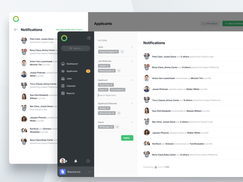 Notification Page platform hr web apps black side panel filters design notification ux ui