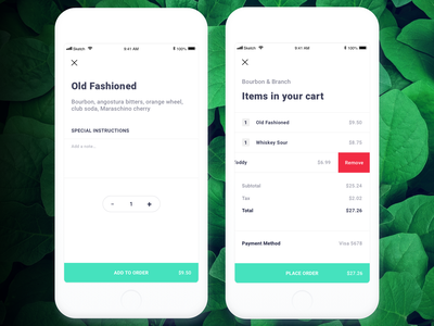 Tipsy - Order drinks without waving down a bartender app restaurant checkout page checkout process checkout form cart items order confirmation edit order remove place order drink food mobile app mobile checkout order