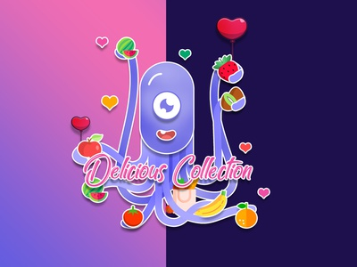 Octopus ui vector typography illustration design branding onboarding fish sea animals ocean banner fruits orange colloection delicious grocery octopus