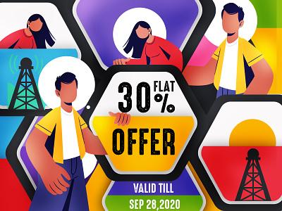 Offer Banner offering offers offer typography art flat website brand ui vector ux design illustration branding