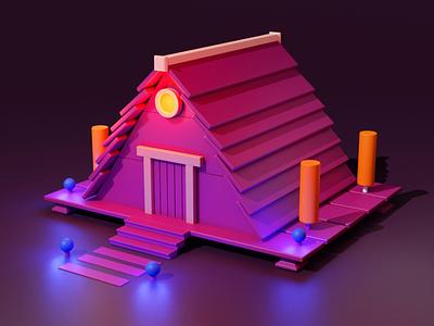 House Night 3d blender flat website brand ux ui vector illustration design branding