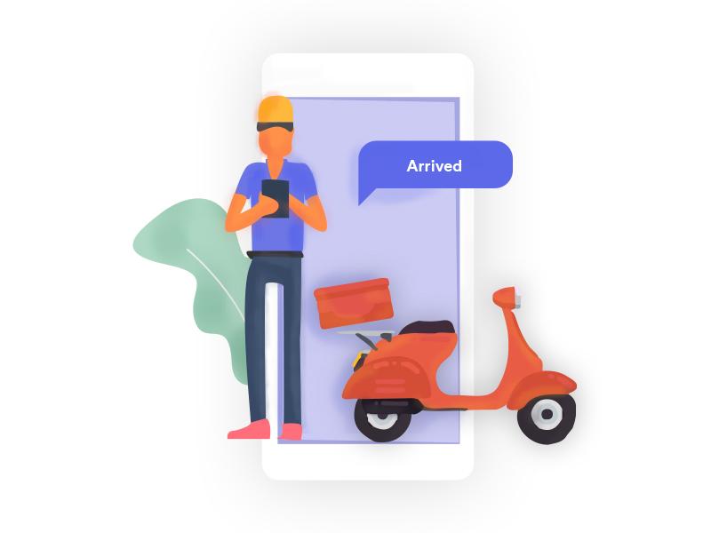 Driver Food Delivery graphic design art web brand website vector flat ui ux illustration design branding
