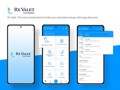 Rx Valet- Medical Mobile App UI/UX Design ui uiux photoshop creative online medical app design medicine delivery mobile app pharmacy app medical app rxvalet ussllc