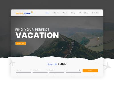 Travel Web Layout Concept web layout design layout webdesign modern landingpage creative uiux ui travel travelwebdesign website photoshop ussllc travel web