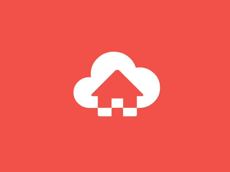 Logotest (house + upload) logo house cloud upload icon