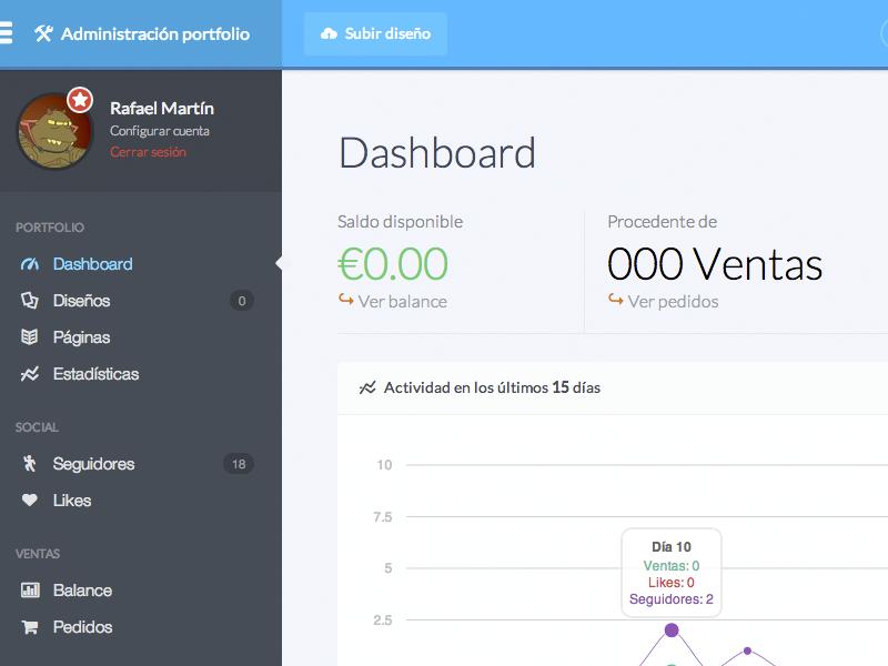 Portfolio Admin for Estampable portfolio admin dashboard stats flexbox grid ux ui interface profile avatar