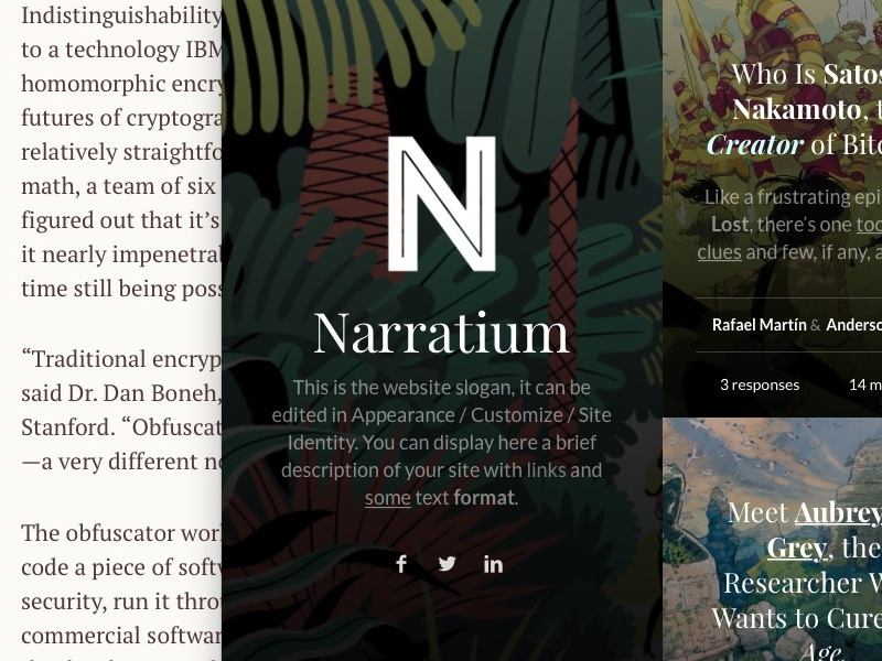 Narratium WP Theme writers minimal clean simple theme wordpress