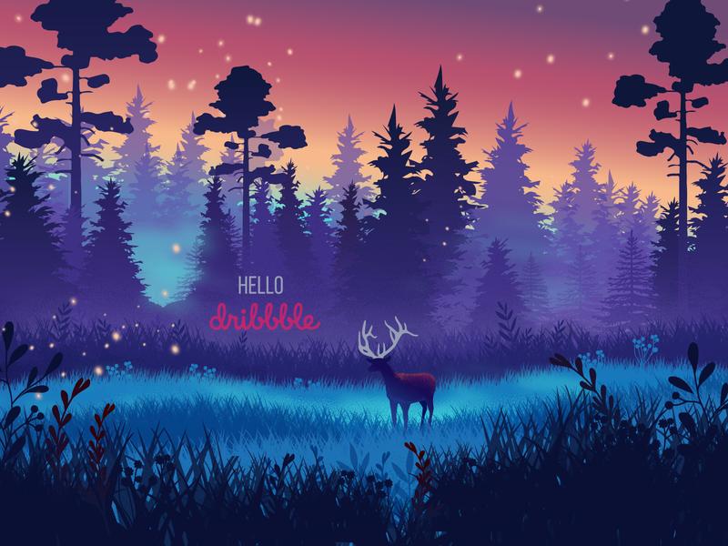 Hello, magical Dribbble world! debutshot debut forest magical vector design illustration