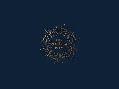 Queen City ohio dark logo typography gold stipple texture sunburst cincinnati vintage badge