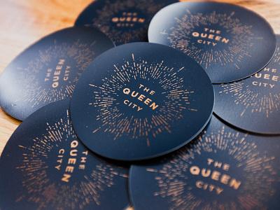 Queen City Magnets print ohio cincinnati type blue gold sticker typography illustration magnet