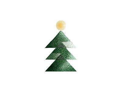 Merry & Bright holiday illustration bright star card holidays christmas tree texture