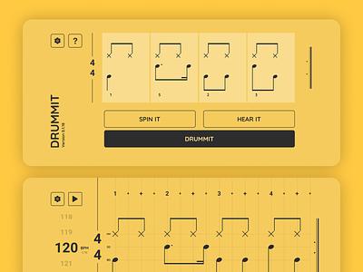 Drummit - App Screens education drum app drumming app iphone app iphone userinterface ui uxui ux yellow drummer drum drumming drummit app