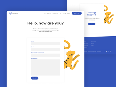 Contact Page Design illustration tiger figma contact form form design contact page contact website concept web designer web design website design websites website