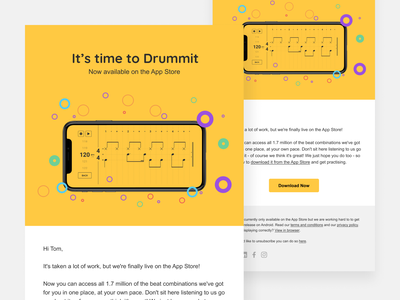 Email Design userinterface ui uxui landscape app landscape email template drumming app drumming drum app yellow yellow email app email launch email email marketing html email email