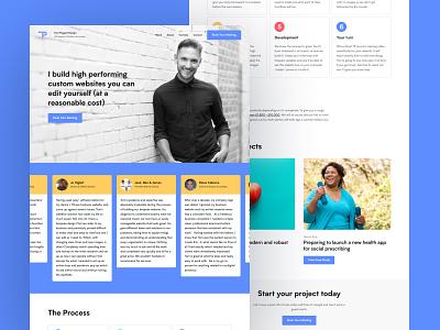 Website Redesign (shot 2) user experience user inteface uxui ux case studies testimonials blue website blue layout homepage portfolio webdesigner webdesign website design design flat website