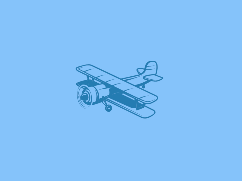 043 / 365 Biplane personal illustration365 flatillustration flat 2d vector illustration blue biplane plane