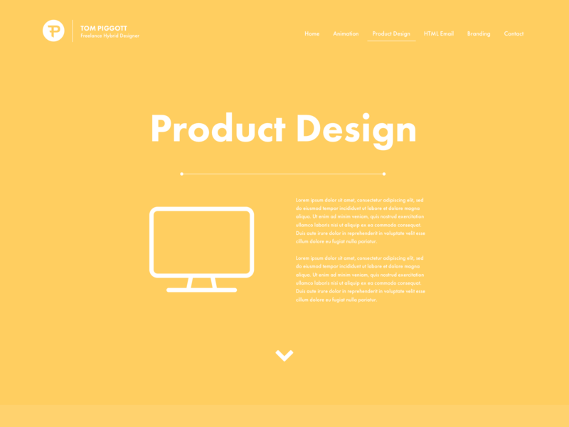 Portfolio Page - Product Design yellow flat hero concept website concept website design webdesign web website product product design 2d