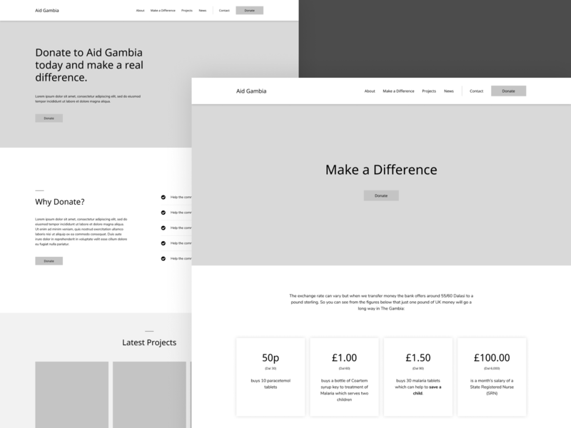 Aid Gambia wireframe design figma charity website charity webdesign landingpage website wireframe