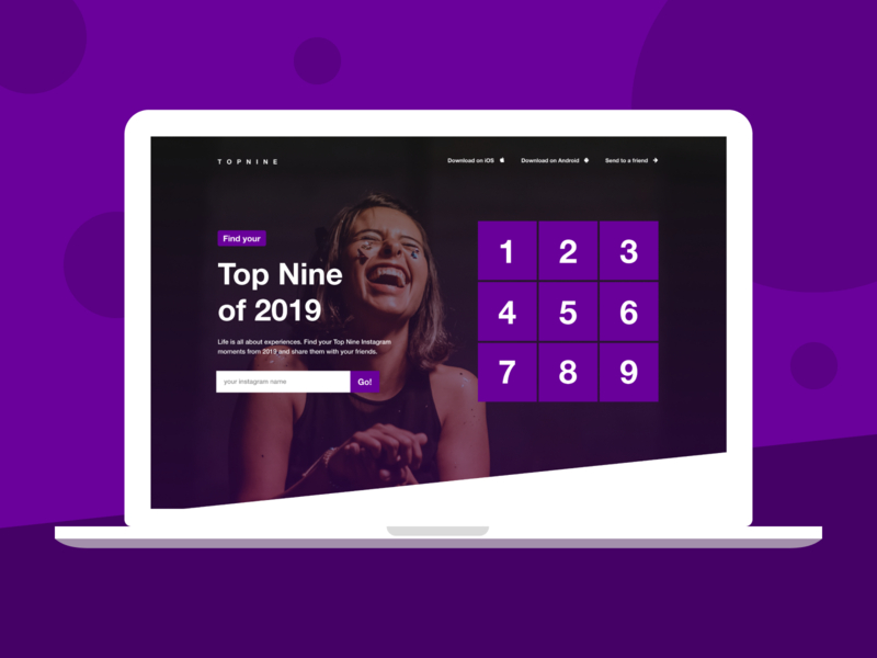 Top Nine - Version 2 concept website concept laughing purple topnine hero section landingpagedesign landing design landingpage website