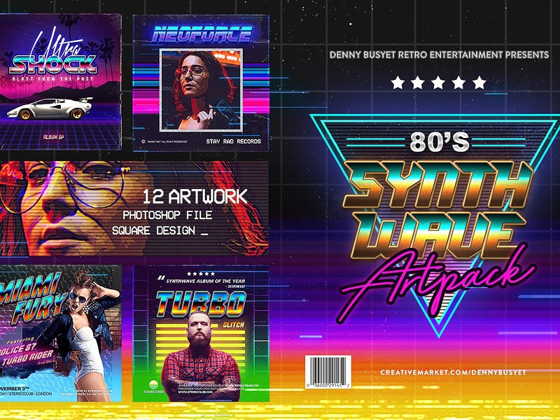 80's Synthwave Square Artpack by Social Media Templates on Dribbble