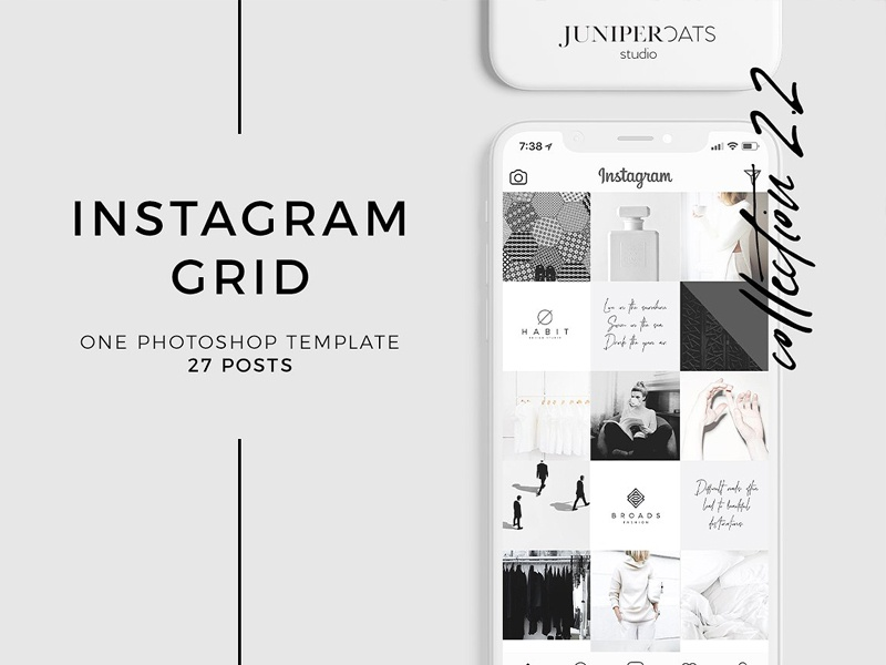 instagram grid template by stationery templates dribbble. Black Bedroom Furniture Sets. Home Design Ideas