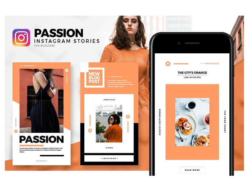 Passion - Instagram Stories Pack social media template passion story photoshop instagram stories lookbook clothing editorial instagram stories pack social media instagram fashion