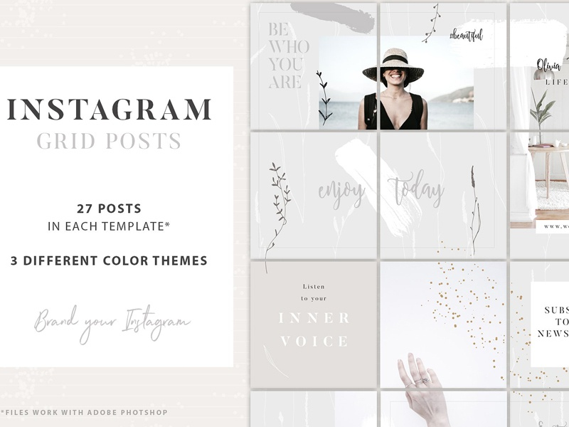 Instagram Grid Posts - 3 Themes by Social Media Templates on