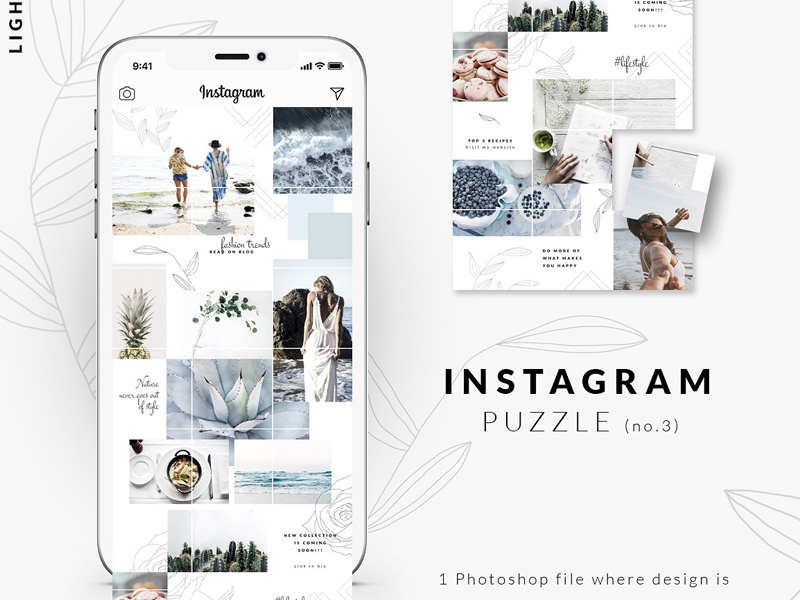 Instagram PUZZLE template - Light by Social Media Templates