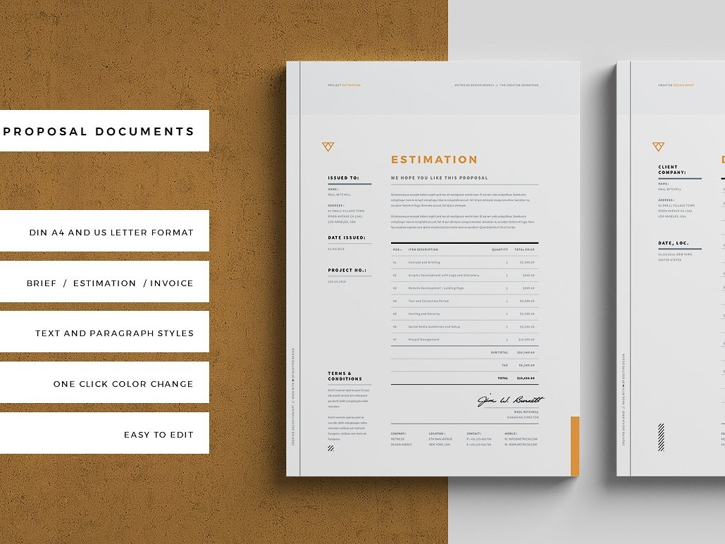 Brief Estimation Invoice By Social Media Templates Dribbble