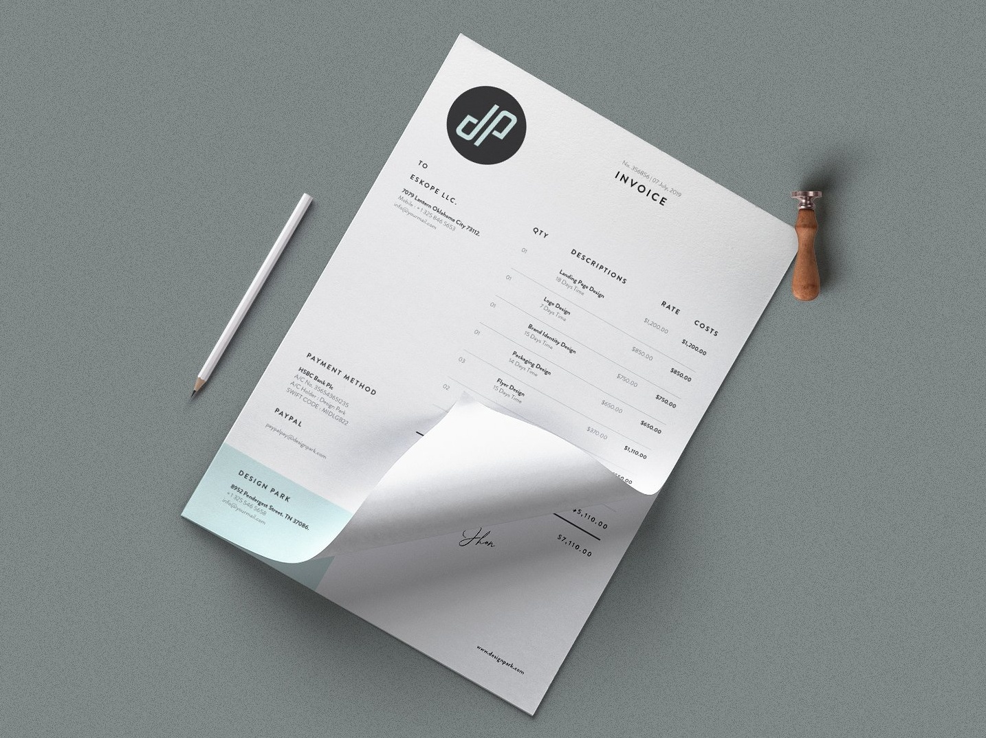 Minimalist Invoice By Social Media Templates On Dribbble
