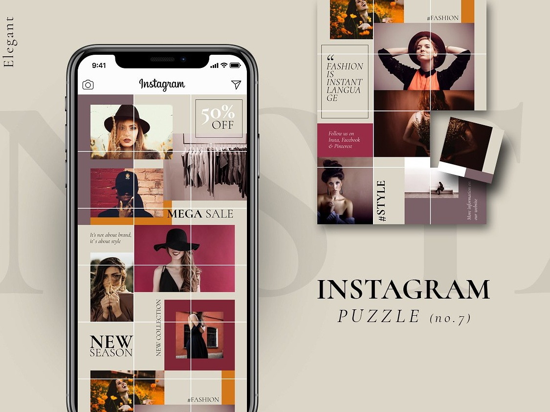 Instagram Puzzle Template Elegant By Social Media Templates