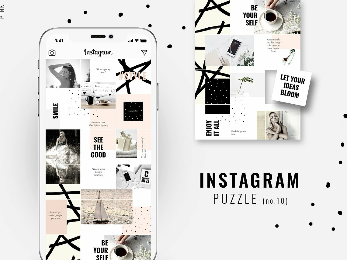 Instagram PUZZLE template - Pink by Social Media Templates