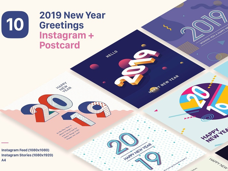 2019 new year instagram bundle promoting design templates invitation vibrant graphic pinterest post typography card greeting