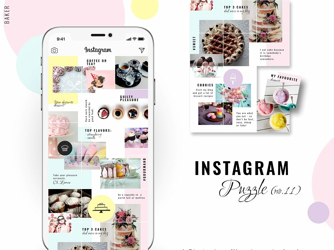 Instagram PUZZLE template - Baker by Social Media Templates