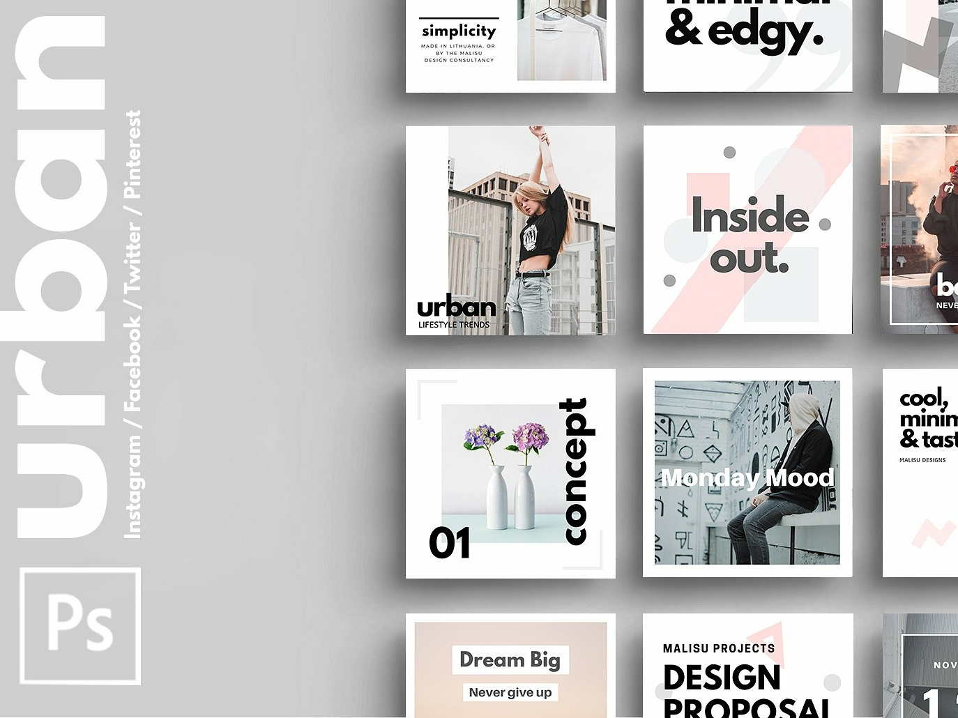 PHOTOSHOP | Urban Social Media Pack by Social Media Templates on