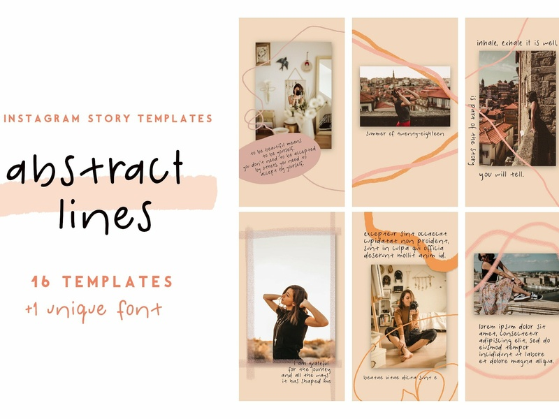 Abstract Lines - Templates + Font stories social media templates blogger branding social media template artistic handwritten font story template instagram story template instagram template instagram stories instagram story instagram line lines abstract font templates abstract lines