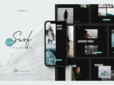 Surf template - for Canva & PS