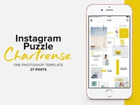 Instagram Puzzle Template Chartreuse