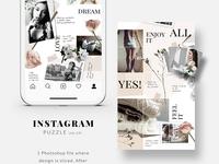 Instagram PUZZLE template - Floral