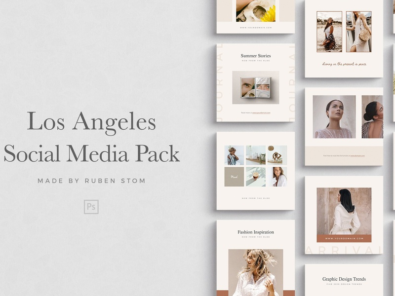 Los Angeles Social Media Pack fashion minimal photoshop instagram posts modern stories blogger instagram template clean elegant instagram stories social media templates branding templates template instagram los angeles social media template social media pack social media