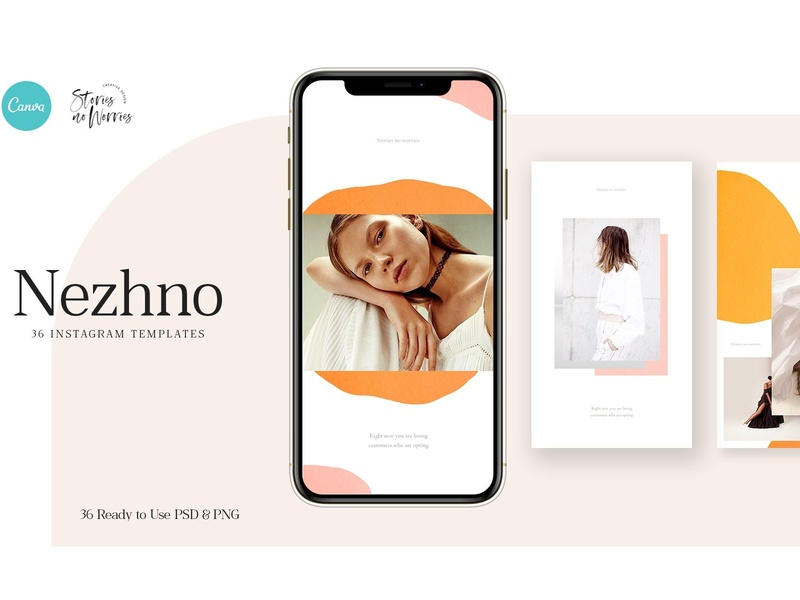 Nezhno - 36 Instagram Templates photoshop modern social media pack clean elegant stories social media templates instagram banner canva template canva blogger branding templates social media template instagram post instagram stories instagram posts instagram template instagram