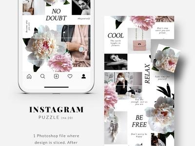 Instagram PUZZLE template - Peonies