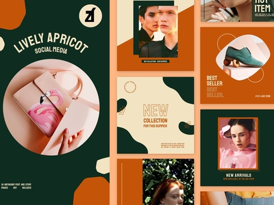 Lively apricot social media graphic