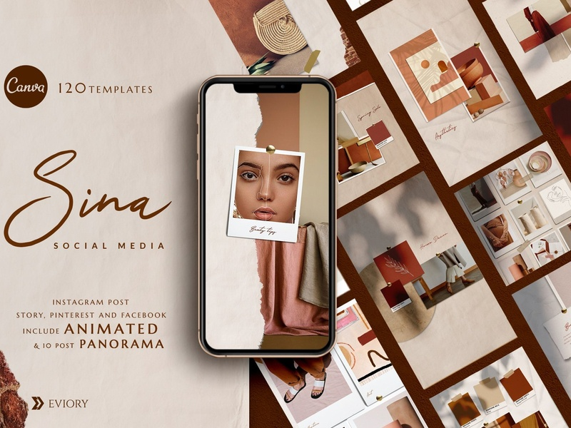 PS & Canva Sina - Social Media Pack branding blogger instagram template modern instagram posts photoshop fashion blog minimal instagram story animated instagram animated template animated templates animated panorama panorama animated social media template social media pack social media canva